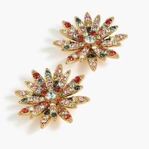 JCREW Pave' Daisy Earrings NWT Multi
